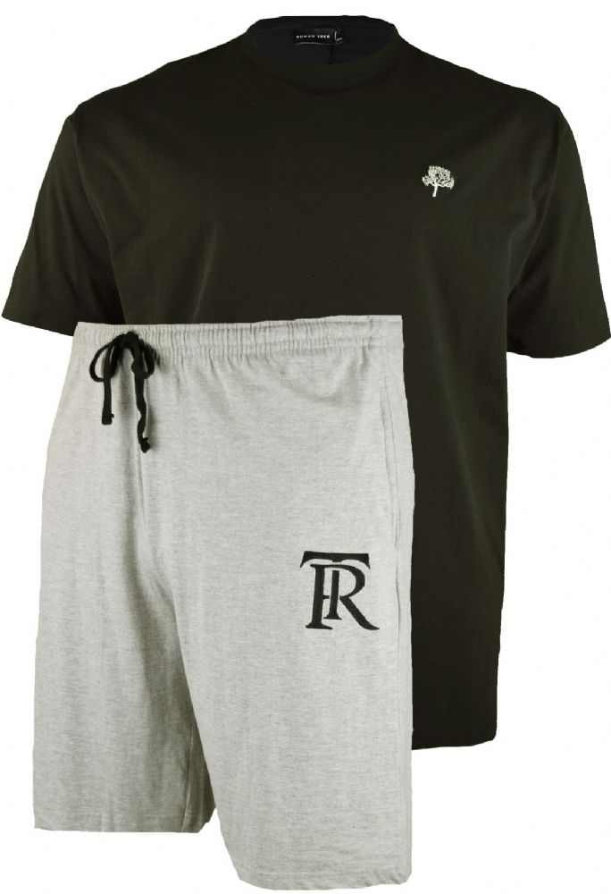 ROWAN TREE  Grey Shorts & Black T Shirt Set